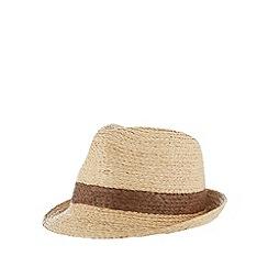Mantaray - Natural plaited band straw trilby hat