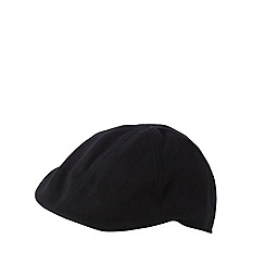 Red Herring - Black textured canvas flat cap