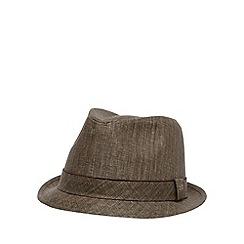 RJR.John Rocha - Designer brown pure linen trilby hat