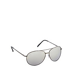 Red Herring - Rounded aviator shiny gunmetal sunglasses