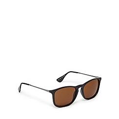 FFP - Brown plastic keyhole square sunglasses