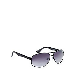 Maine New England - Square aviator shiny black sunglasses
