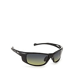 Mantaray - Polarized square sports wrap black sunglasses