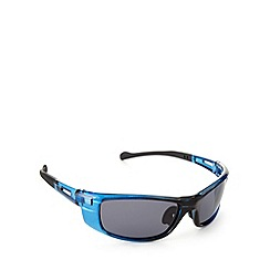 Mantaray - Polarized square sports wrap crystal blue sunglasses