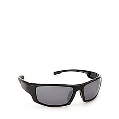 Mantaray - Polarized sport wrap shiny black sunglasses