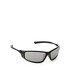 Mantaray - Polarized vented sports plastic shiny black  sunglasses