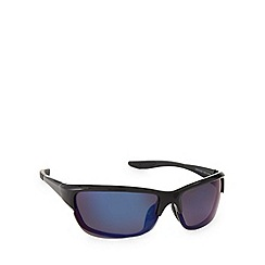 Mantaray - Polarized sports half frame shiny black sunglasses