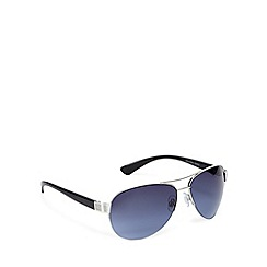 FFP - Blue lensed half metal framed aviator sunglasses