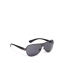 FFP - Grey lensed flat metal aviator sunglasses