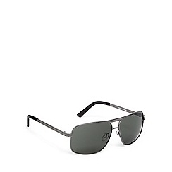 FFP - Green lensed textured brow bar square aviator sunglasses
