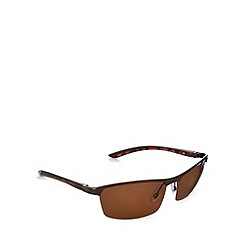Mantaray - Polarized monobrow half frame bronze sunglasses
