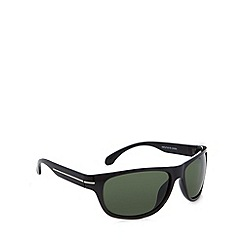 Mantaray - Polarized fashion wrap metal temple insert shiny black sunglasses