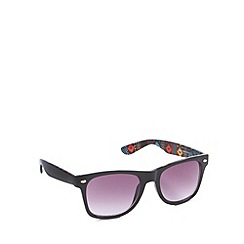 Red Herring - Inner aztec digi print d frame shiny black sunglasses