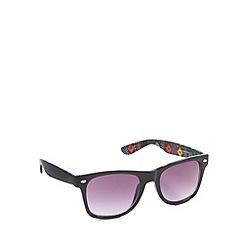 Red Herring - Inner aztec digi print d frame shiny black sunglasses