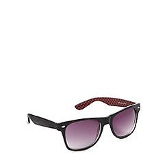 Red Herring - Inner red checkerboard d frame shiny black sunglasses