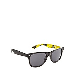 Red Herring - Inner yellow palm print d frame s black sunglasses