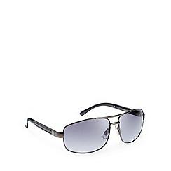 Mantaray - Polarized full frame black temple insert shiny gunmetal sunglasses