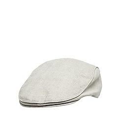 RJR.John Rocha - Designer natural linen blend herringbone flat cap