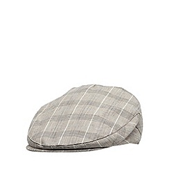 RJR.John Rocha - Designer light brown linen blend checked flat cap