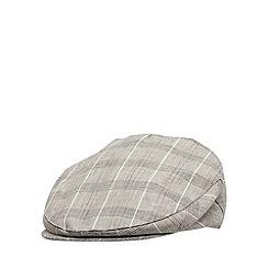RJR.John Rocha - Designer light brown linen blend checked flat cap