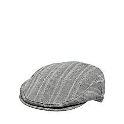 J by Jasper Conran - Designer grey linen blend herringbone flat cap