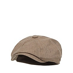 RJR.John Rocha - Light brown linen blend baker boy hat