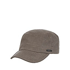 RJR.John Rocha - Grey linen blend train driver cap