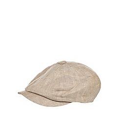 RJR.John Rocha - Beige linen herringbone baker boy cap