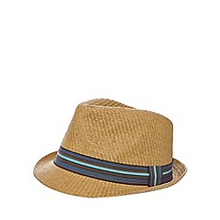 Red Herring - Tan straw trilby hat