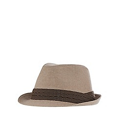 The Collection - Beige canvas trilby hat