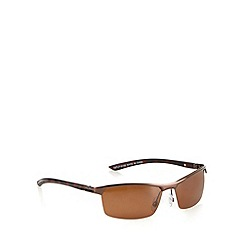 Mantaray - Brown polarised wrap-around semi rimless sunglasses