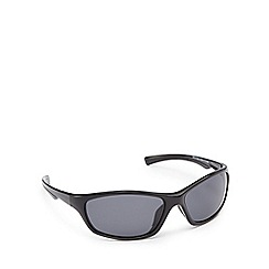Mantaray - Black polarised wrap D-frame sunglasses
