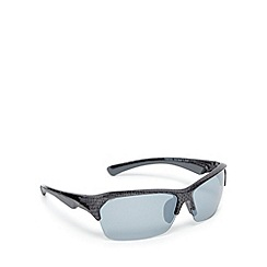 Mantaray - Silver polarised tinted wrap-around semi rimless sunglasses