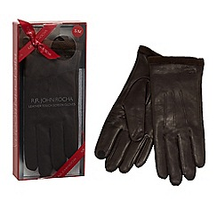 RJR.John Rocha - Dark brown leather touch screen gloves in a gift box