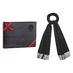 RJR.John Rocha - Grey wool rich tasselled scarf with cashmere in a red gift box