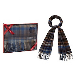 RJR.John Rocha - Blue checked scarf in a gift box