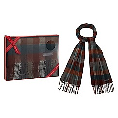 RJR.John Rocha - Dark grey checked scarf in a gift box