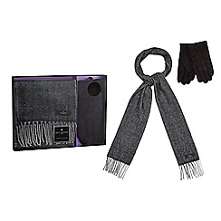 Jeff Banks - Grey herringbone patterned scarf and black gloves in a gift box