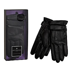 Jeff Banks - Black leather gloves in a gift box
