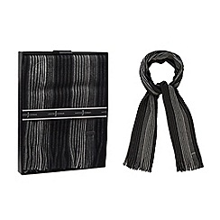 J by Jasper Conran - Grey wool striped scarf in a gift box