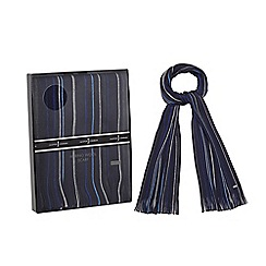 J by Jasper Conran - Navy pure Merino wool striped scarf in a gift box