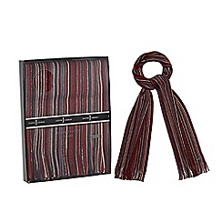 J by Jasper Conran - Red pure wool striped scarf in a gift box