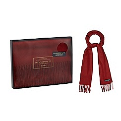 Hammond & Co. by Patrick Grant - Red tasselled trim scarf in a navy gift box