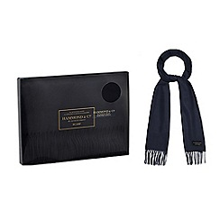 Hammond & Co. by Patrick Grant - Navy tasselled trim scarf in a navy gift box