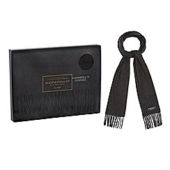 Hammond & Co. by Patrick Grant - Dark grey tasselled trim scarf in a navy gift box