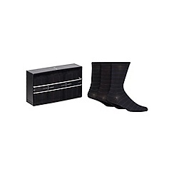 J by Jasper Conran - Set of three black striped socks in a gift box