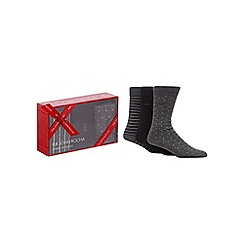 RJR.John Rocha - Pack of three black and grey plain and patterned socks in a gift box