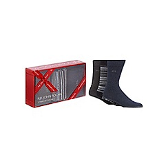RJR.John Rocha - Pack of three dark grey and blue plain and patterned socks in a gift box
