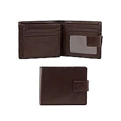 Jeff Banks - Brown leather debossed logo wallet with a coin tray