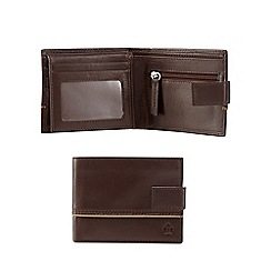 Jeff Banks - Dark brown leather piped wallet